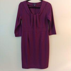 Land's End Purple 3/4 Sleeve Sheath Dress 10/12